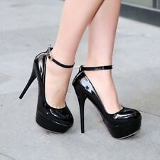 Sexy Women's Patent Leather Buckle Strappy Platform High Heel Party Pumps Shoes