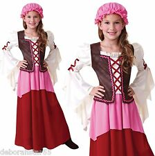 Kids Tudor Girl Medieval Maid Servant Fancy Dress Costume Outfit Age 4-12 years
