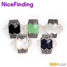 Fashion Rectangle Bead Tibetan Silver Marcasite Gemstone Rings Jewelry For Women