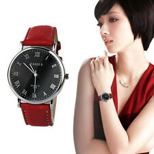 Fashion Women's Crystal Stainless Steel Analog Quartz Leather Band Wrist Watch