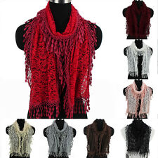 Womens Crochet Paisley Floral Lace Tassel Solid Color Ladies Lace Long Scarf New