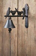 New French Country Primitive Rustic Brown Bird Branch Bell Wall Mounted Iron