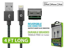 Reversible 4 Ft. Lightning Braided USB Charge & Data Sync Cable for Apple iPhone