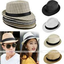 Summer Beach Womens MensTrilby Floppy Fedora Straw Wide Brim Beach Sun Hat EE