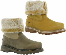CAT Caterpillar Bruiser Scrunch Womens Leather Fur Lined Ankle Boots UK3-8