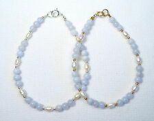 Lyns Jewelry Blue Lace Agate and Freshwater Pearl Bracelet Silver or Gold