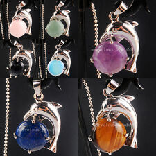 Natural Amethyst Tigers Eye Turquoise Crystal Coin Dolphin Pendant Bead WB370
