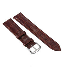 Dark Brown Genuine Leather Alligator Wrist Watch Strap Band Womens Mens Buckle