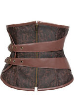 Sexy Brown Steampunk Gothic faux leather underbust Corset basque body shaper