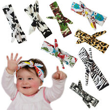 Baby Girl Bow Animal Print Headband Rabbit Ear Turban Knot DIY Leopard Head Wrap