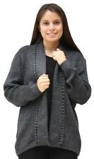 Womens Alpaca Wool Open Coat Sweater Jacket Crochet Edge Knitted Size M