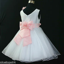 Kids Pinks Whites Bridesmaid Flower Girls Dresses SIZE 1,2,3,4,5,6,7,8,10,11,12T