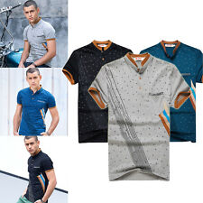 Mens Short Sleeve Classic Casual T-shirt Stand Collar Tops Summer Slim Fit Tee