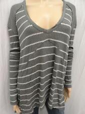 W. FREE PEOPLE SOFT OLIVE COMBO STRIPED ASYMMETRIC KNIT SWEATER TOP SZ-S,M (NWT)