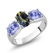 1.70 Ct Oval Blue Mystic Topaz Blue Tanzanite 18K White Gold Ring