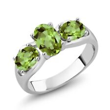 1.80 Ct Oval Green Peridot 925 Sterling Silver Ring