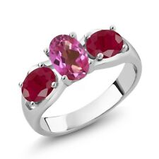 2.00 Ct Oval Pink Mystic Topaz Red Ruby 925 Sterling Silver Ring