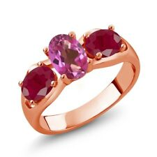 2.00 Ct Oval Pink Mystic Topaz Red Ruby 18K Rose Gold Ring