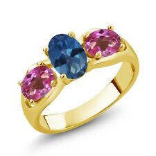 1.80 Ct Oval Royal Blue Mystic Topaz Pink Mystic Topaz 18K Yellow Gold Ring