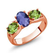 1.65 Ct Oval Checkerboard Blue Iolite Green Peridot 14K Rose Gold Ring