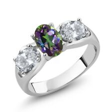 1.80 Ct Oval Green Mystic Topaz White Topaz 925 Sterling Silver Ring
