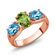 1.80 Ct Oval Green Peridot Swiss Blue Topaz 18K Rose Gold Plated Silver Ring