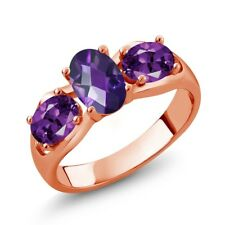 1.45 Ct Oval Checkerboard Purple Amethyst 18K Rose Gold Plated Silver Ring