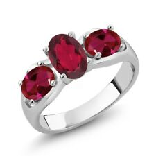 1.80 Ct Oval Red Mystic Topaz Red Created Ruby 18K White Gold Ring