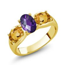 1.55 Ct Oval Checkerboard Purple Amethyst Yellow Citrine 18K Yellow Gold Ring