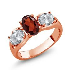 1.90 Ct Oval Red Garnet White Topaz 18K Rose Gold Plated Silver Ring