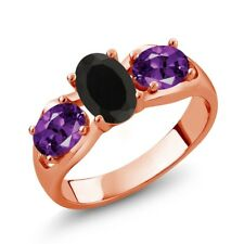 1.50 Ct Oval Black Onyx Purple Amethyst 18K Rose Gold Plated Silver Ring