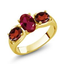 1.90 Ct Oval Red Created Ruby Red Garnet 18K Yellow Gold Plated Silver Ring