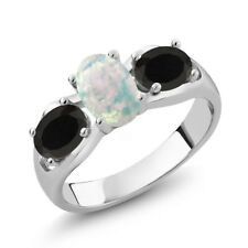 1.41 Ct Oval Cabochon White Simulated Opal Black Onyx 18K White Gold Ring