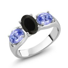 1.70 Ct Oval Black Onyx Blue Tanzanite 925 Sterling Silver Ring