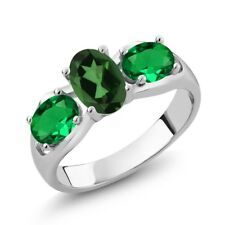 1.60 Ct Emerald Envy Mystic Topaz Green Simulated Emerald 18K White Gold Ring