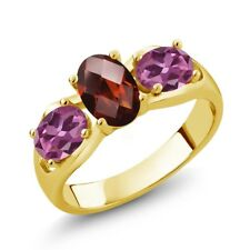 1.80 Ct Oval Checkerboard Red Garnet Pink Tourmaline 14K Yellow Gold Ring