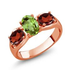 1.80 Ct Oval Green Peridot Red Garnet 18K Rose Gold Plated Silver Ring