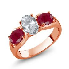 2.15 Ct Oval White Topaz Red Ruby 18K Rose Gold Plated Silver Ring