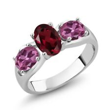 1.90 Ct Oval Red Rhodolite Garnet Pink Tourmaline 14K White Gold Ring