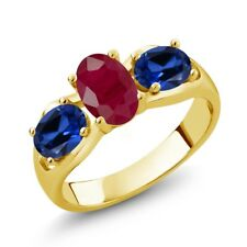 2.02 Ct Oval Red Ruby Blue Simulated Sapphire 14K Yellow Gold Ring