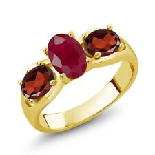 2.02 Ct Oval Red Ruby Red Garnet 18K Yellow Gold Plated Silver Ring
