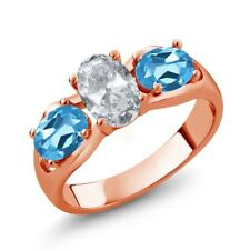 1.95 Ct Oval White Topaz Swiss Blue Topaz 18K Rose Gold Plated Silver Ring