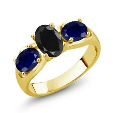 2.17 Ct Oval Black Sapphire Blue Sapphire 14K Yellow Gold Ring