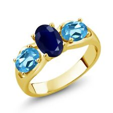 2.02 Ct Oval Blue Sapphire Swiss Blue Topaz 18K Yellow Gold Plated Silver Ring