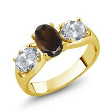 1.75 Ct Oval Brown Smoky Quartz White Topaz 18K Yellow Gold Plated Silver Ring