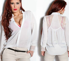 Sexy Womens Chiffon Shirt Ladies Blouse with Lace Shoulders and Cuffs