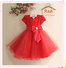 Kids Reds Bridesmaid Party Flower Girls Dresses Outfit SIZE 2-3-4-5-6-7-8-9-10T