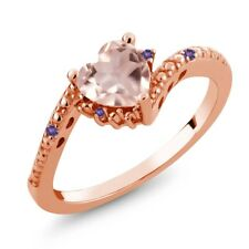 0.72 Ct Heart Shape Rose Rose Quartz Purple Amethyst 14K Rose Gold Ring