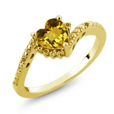 0.74 Ct Heart Shape Yellow Citrine and Simulated Citrine 18K Yellow Gold Ring