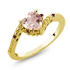 0.73 Ct Rose Rose Quartz Red Rhodolite Garnet 18K Yellow Gold Plated Silver Ring